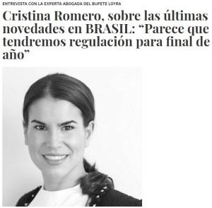 Entrevista a Cristina Romero por InfoPlay, fotografía de una mujer joven.