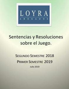 Sentencias y Resoluciones sobre el Juego (2018-2019), fotografía de la portada