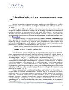Tributación de los juegos de azar y apuestas en época de coronavirus, fotografía del texto escrito