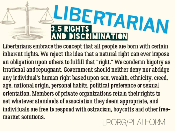"""Libertarians embrace the concept that all people are born with certain inherent rights. We reject the idea that a natural right can ever impose an obligation upon others to fulfill that """"right."""" We condemn bigotry as irrational and repugnant. Government should neither deny nor abridge any individual's human right based upon sex, wealth, ethnicity, creed, age, national origin, personal habits, political preference or sexual orientation. Members of private organizations retain their rights to set whatever standards of association they deem appropriate, and individuals are free to respond with ostracism, boycotts and other free-market solutions."""