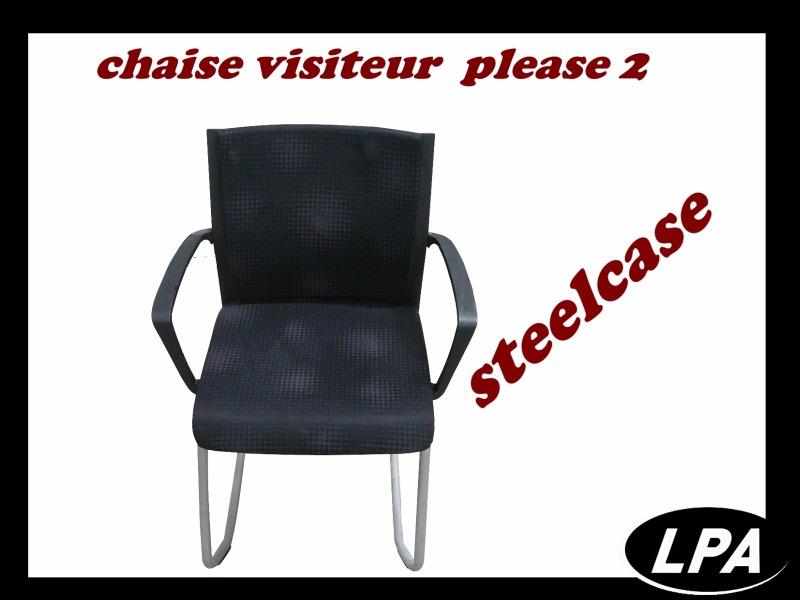 Chaise Visiteur Noire Steelcase Please 2 Chaise