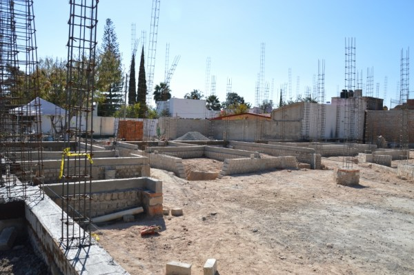 Foundations for the church offices on the left, the library in the middle, bathrooms and large classroom on the right.