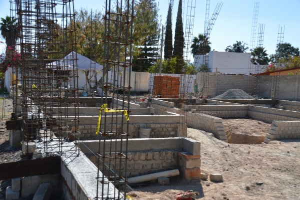 Foundation walls for the church offices in Ajijic - Chapala.