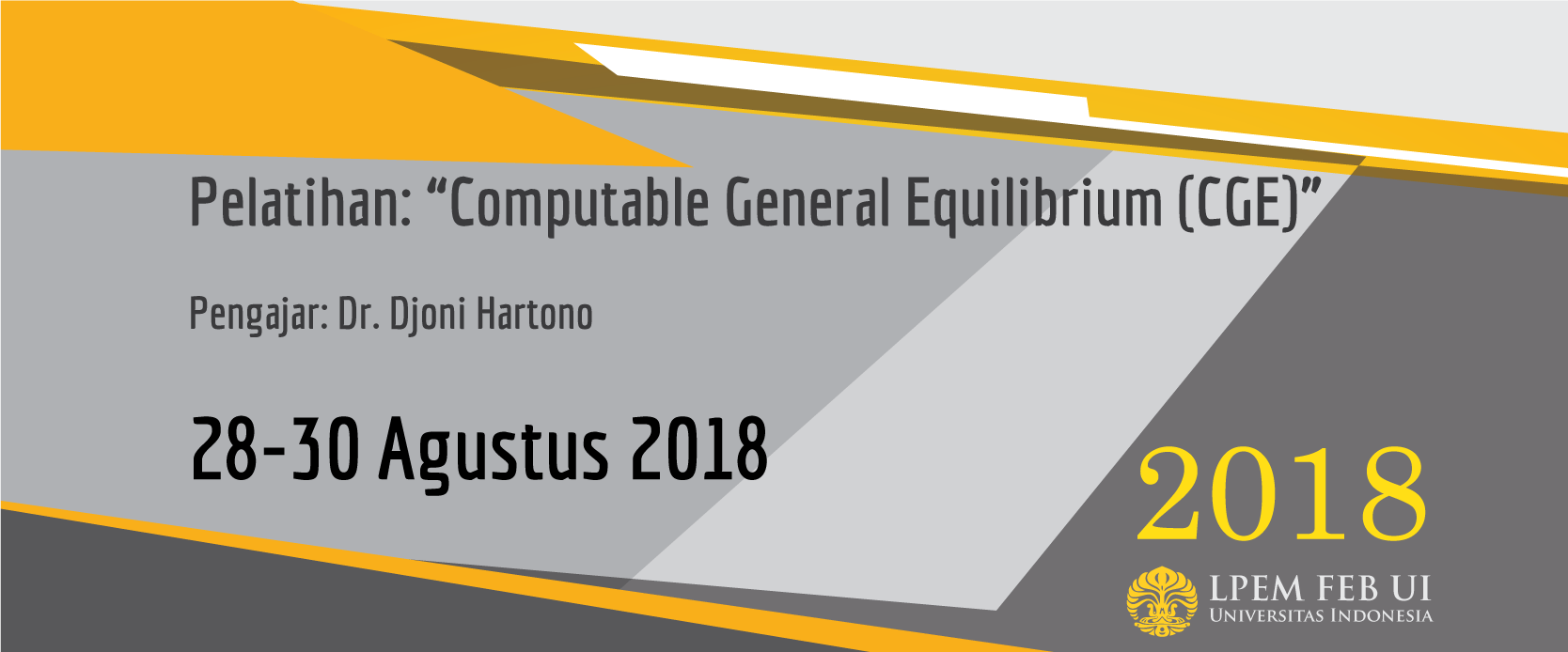 Pelatihan: Computable General Equilibrium (CGE)