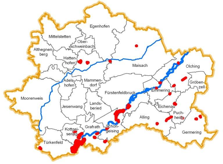 Wo wir im Landkreis überall Maßnahmen durchführen: Übersichtskarrte der Landschaftspflegemaßnahmen