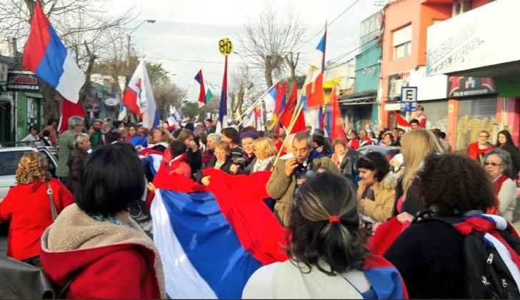 Banderazo del Frente Amplio en Las Piedras. Foto: FA.