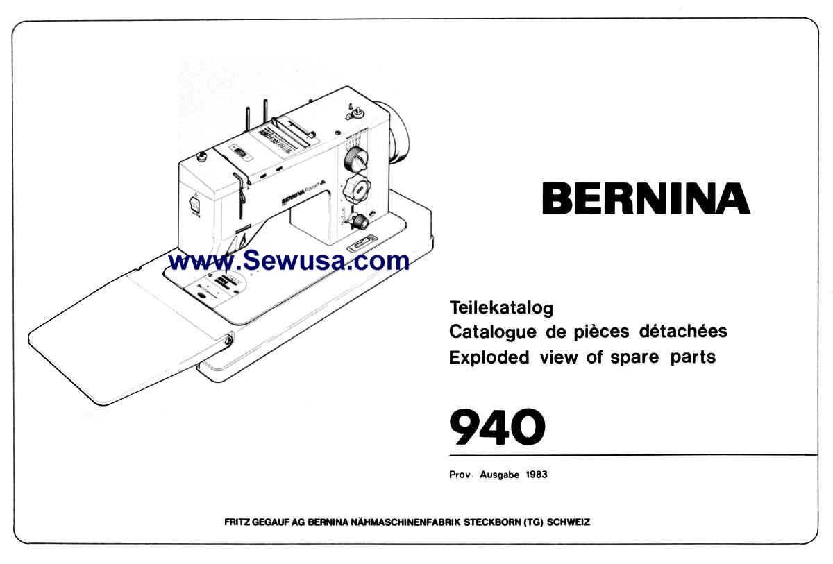 Bernina 940 Parts Book PDF