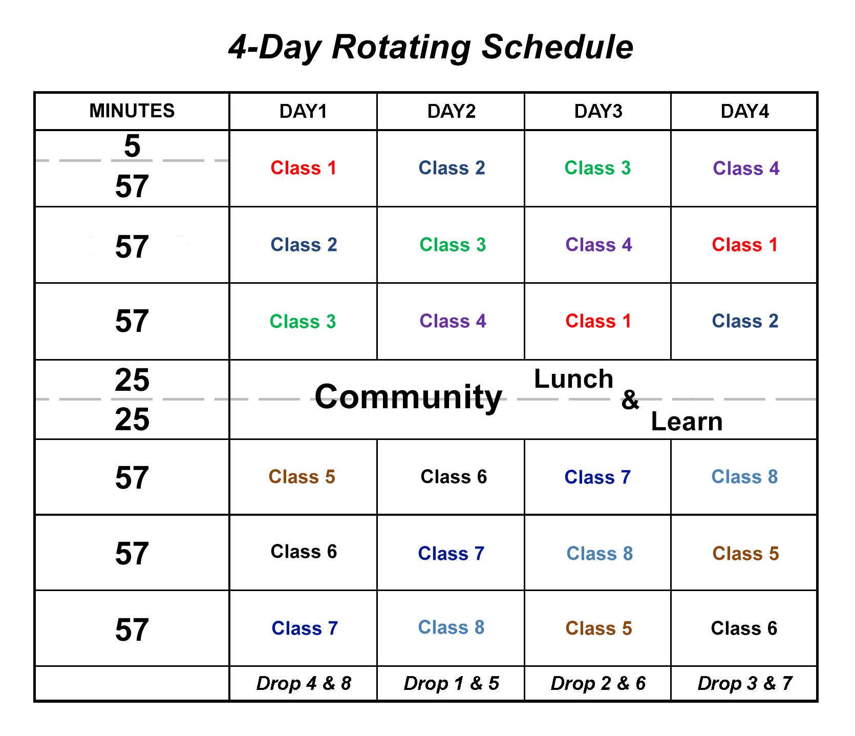Four Day Rotating Schedule Four Day Rotating Schedule