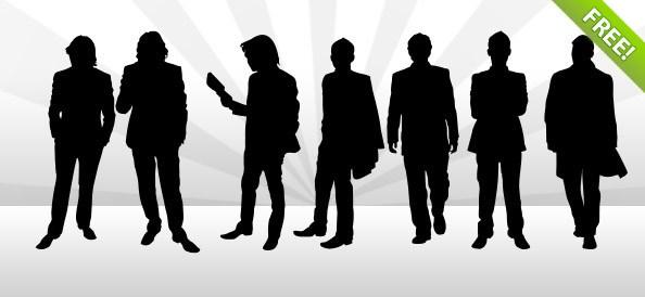 Nine Man Silhouettes