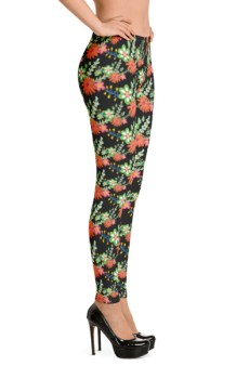 Floral Flower Black Leggings