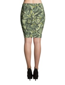 Green Camo Swirl Pencil Skirt 1