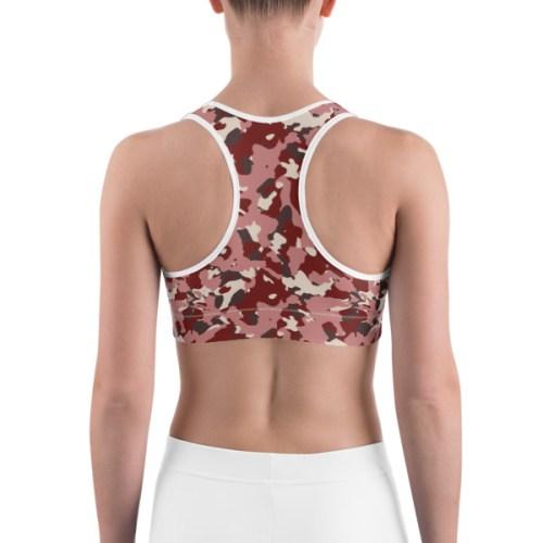 Women's Red Camo Print Sports bra