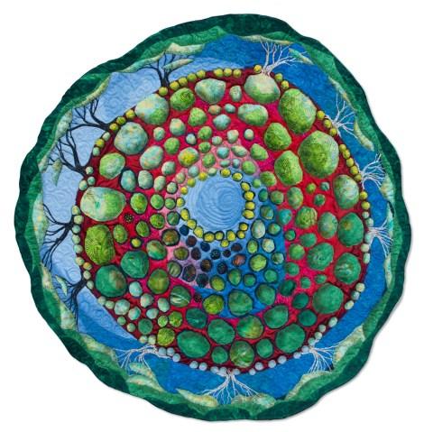 "Ubuntu - Source. 43"" round  This circular quilt represents connection."