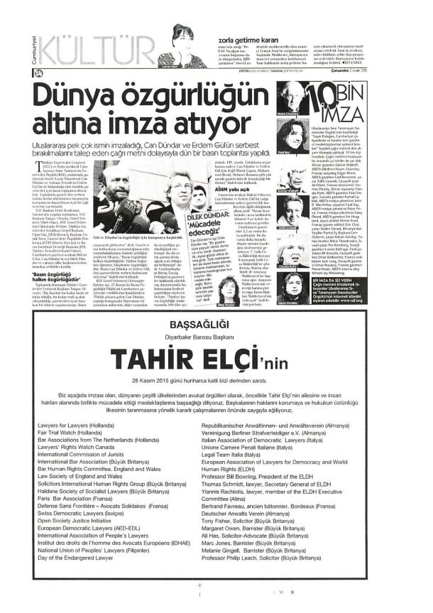 Tahir Elci Obituary.Pubication