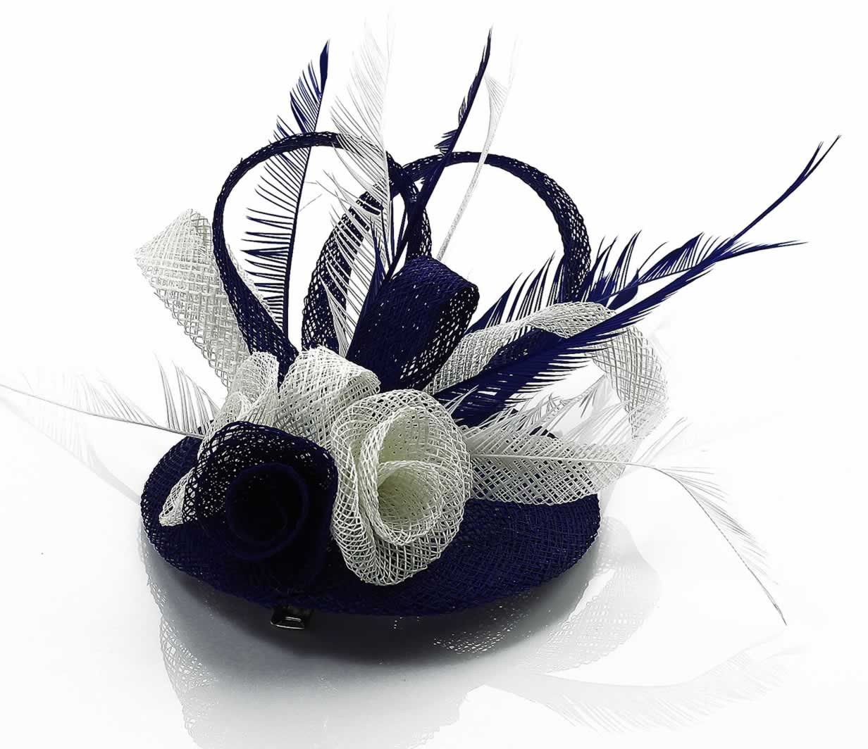 Wholesale Navy White Feather Amp Mesh Flower Fascinator On