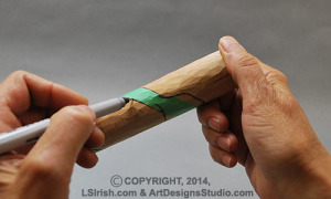 tracing the pattern for a walking stick