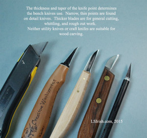 bench knives used for relief wood carving and whittling
