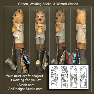 Cane, walking stick, and wizard wand wood carving