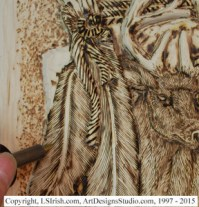 Adding animal fur with a wood burner to a relief wood carving