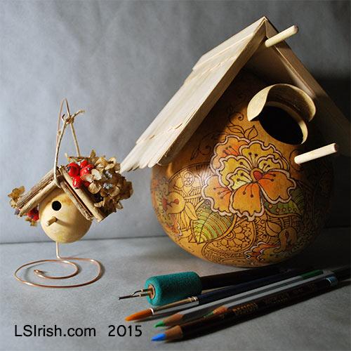 DIY craft gourd bird houses
