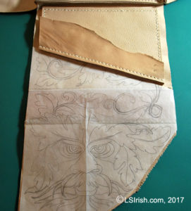 tracing a pyrography pattern onto leather