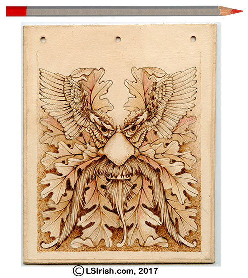 Pyrography Greenman Leather Bullet Journal Cover