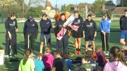 Gary Johnson (centre) and the Hurricane Sports coaches conduct a hockey camp.