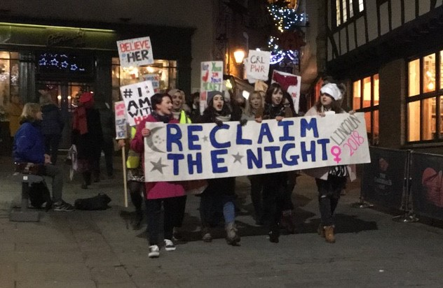 A man was turned away from an all-female protest in Lincoln last weekend