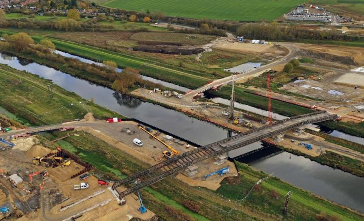 Eastern Bypass Aerial Shot of a temporary bridge. Photo: LCC