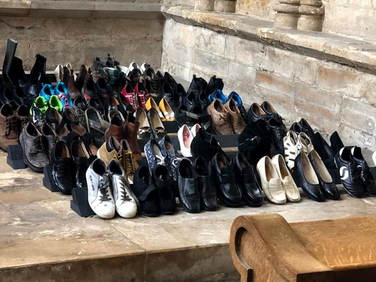 56 pairs of shoes have been installed at Lincoln Cathedral. Photo: Carter Jones