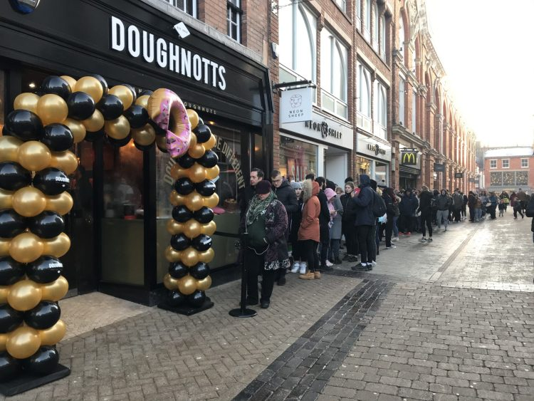 Queues outside Doughnotts on opening day