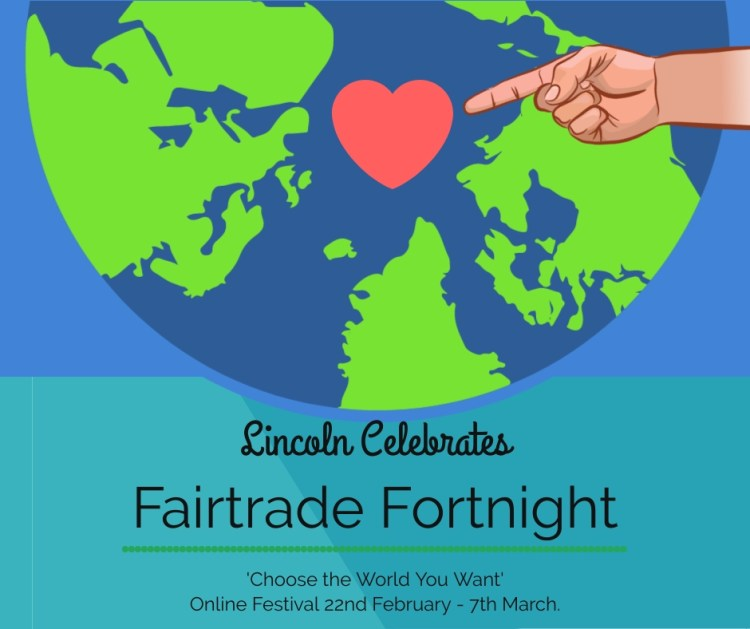 A colourful Illustration, depicting world love being shared across Lincoln as we celebrate Fairtrade.