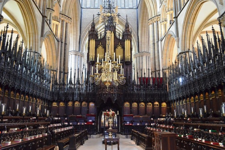Empty choir section inside Lincoln Cathedral