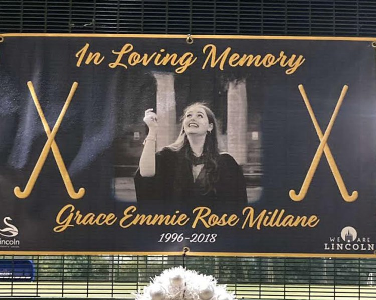 In memoriam of Grace Millane. Courtesy of the University of Lincoln Hockey Club.