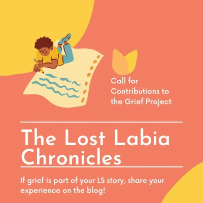 Image of a woman lying down on a mat writing on the top left corner. The background is orange with yellow circular details in the corners. The text in the center reads The Grief Project by The Lost Labia Chronicles.