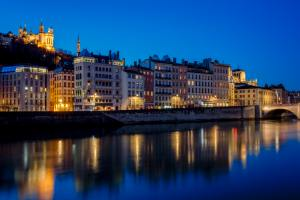 View of Lyon with Saone river at night