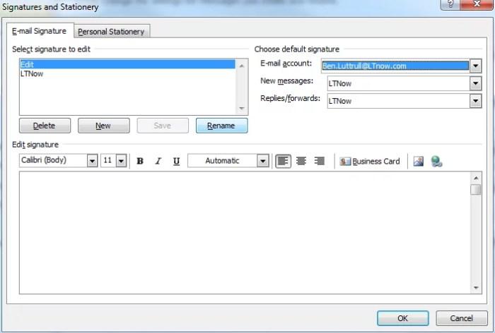 Outlook 2010 Signature Screen Shot 3