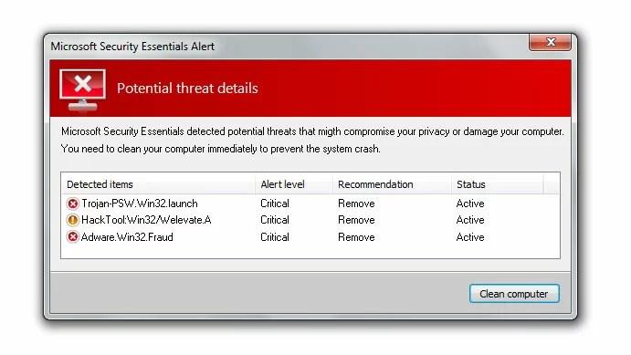 microsoft security essentials fake alert