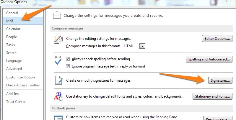 how to change signature in outlook 2018