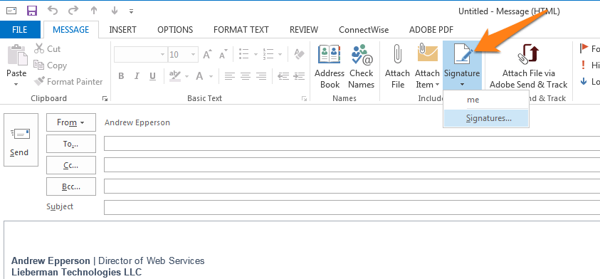 outlook signature new message
