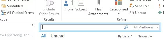 outlook 2013 search default all mailboxes