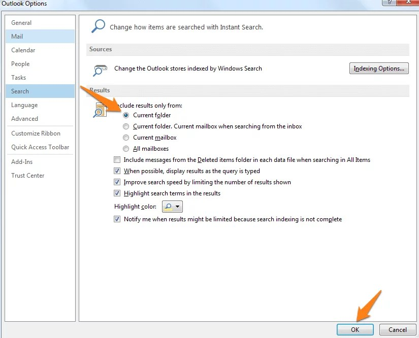 how to create a search folder in outlook 2013