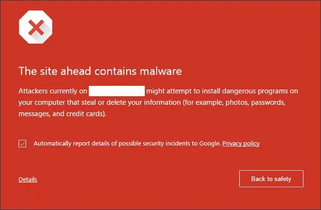Google red screen malware warning