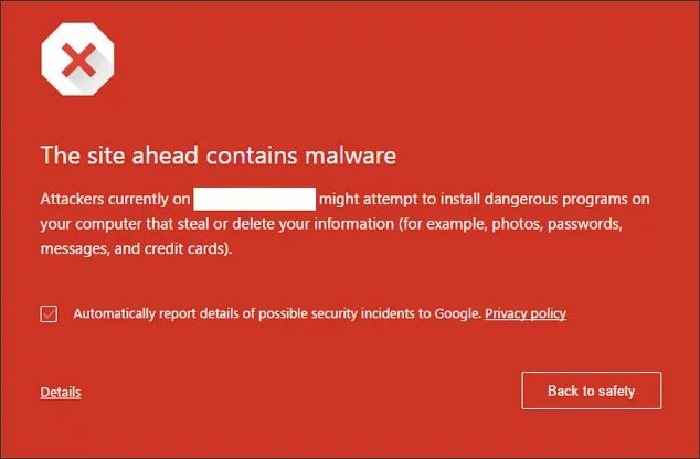 Google red screen malware warning