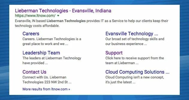 Lieberman Technologies SEO search results