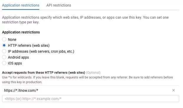 http restrictions on google maps api
