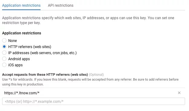 http restrictions on google maps api