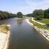 Isar Blick von der Wittelsbacherbrücke