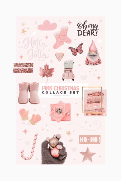pink-soft-aesthetic-christmas-collage-set