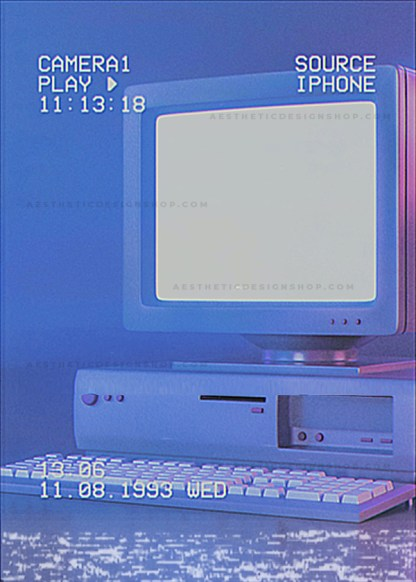 Old desktop computer with glitch effect filter